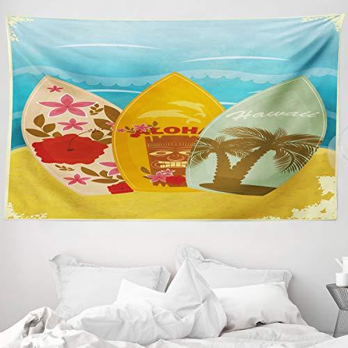 ABAKUHAUS Tiki Bar Tapiz de Pared y Cubrecama Suave, Exótico Tabla De Surf, Lavable Colores Firmes, 230 x 140 cm, Multicolor