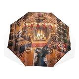 LASINSU Paraguas Resistente a la Intemperie,protección UV,Navidad Cuarto de baño- Vida cálida Navidad Chimenea Guirnalda Árbol Calcetines Luces Caja de Regalo Vacaciones de Invierno