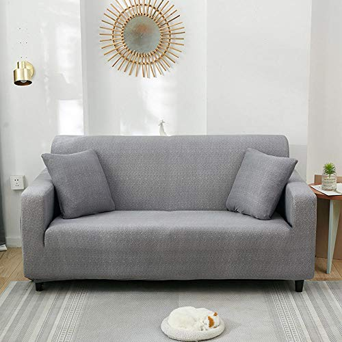 HXTSWGS Funda elástica para sofá,Funda para sofá de Sala de Estar, Funda para sofá elástica, Funda para sofá para Silla y Taburete, Funda para Muebles-Gris Claro_235-310cm
