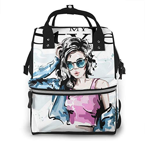 UUwant Sac à Dos à Couches pour Maman Diaper Bag,Versatile Stylish and Durable, Suitable for Mom and DadFashionable Elegant Girl in Jeans Jacket - My Style