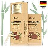 BLUZELLE [200 piezas] Bamboo Buds, hisopos de algodón 100% libres de plástico y biodegradables, Q-Tips sostenibles hechas de madera de bambú y algodón
