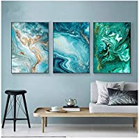 Fluid Art Print Abstract Wall Art Canvas Painting Green Blue Ocean Poster Prints Modern Wall Pictures for Living Room Decoration