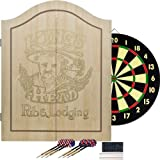 King's Head Light Wood Dartboard Cabinet Set