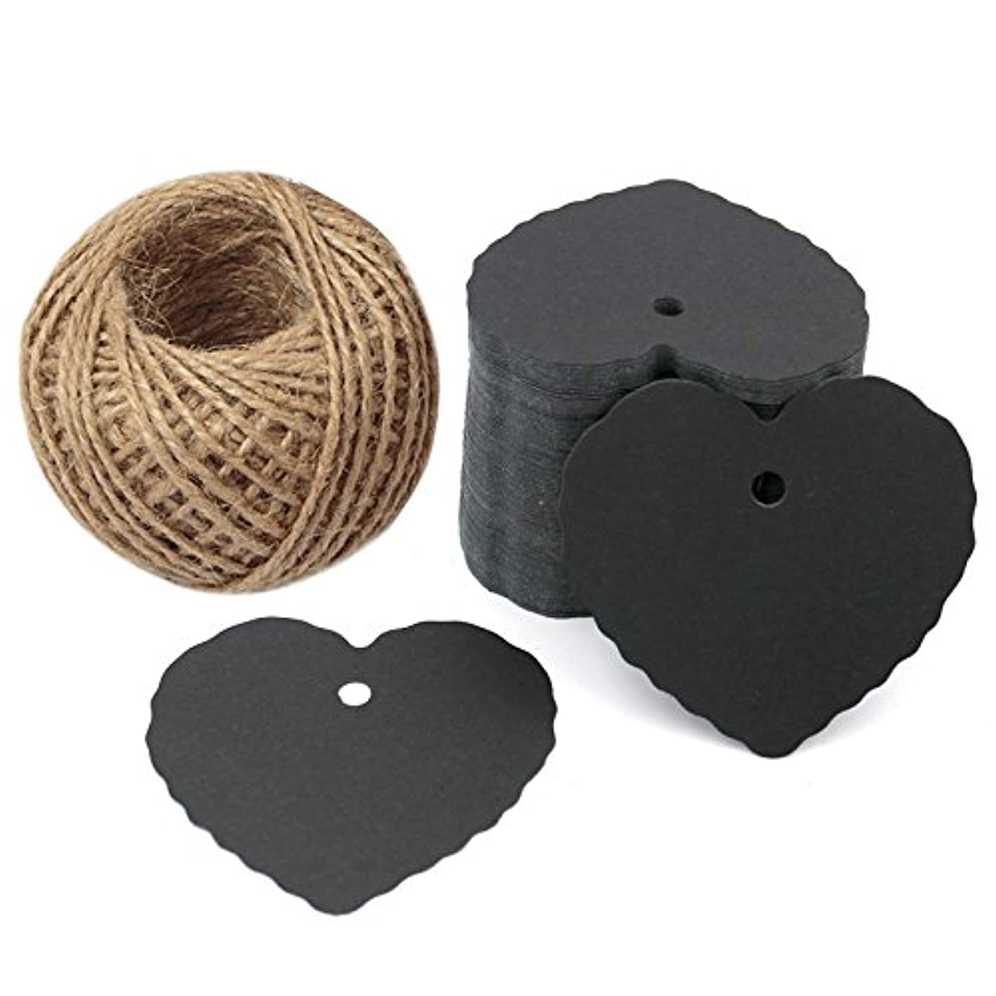 Black Paper Gift Tags,Heart Craft Tags,Wedding Favor Tags,100 Pcs Kraft Paper Tags with 100 Feet Natural Jute Twine yiptezlcfmv352