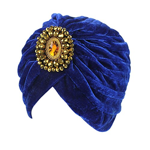 Decou Twist Pleated Hair Wrap Stretch Turban 0545 ,Blue,One size