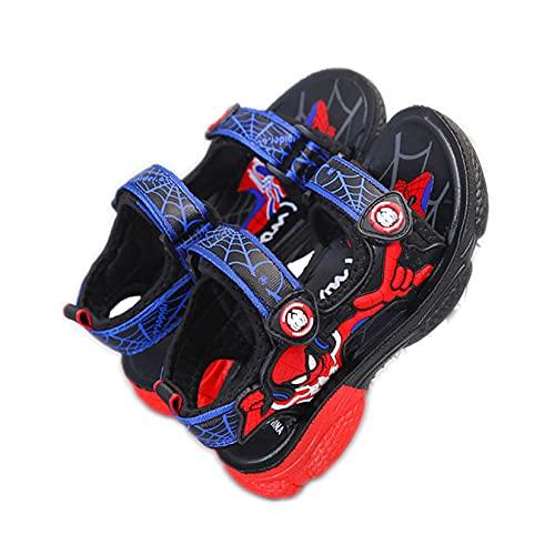 Hflyy Sandalias Verano Niños, Zapatos Playa Spiderman Niños, Sandalias Caminar En La Piscina, Zapatillas De Deporte con Solapa De Moda, Zapatillas De Agua con Suela Suave,Blue-30/Inner Length 18cm