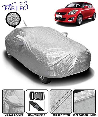 Fabtec Waterproof and Heat Resistant Metallic Silver Mirror and Antenna Pocket Car Body Cover for Maruti Swift (2012-2017) with Soft Cotton Lining (Full Bottom Elastic, Full Sized, Triple Stitched)