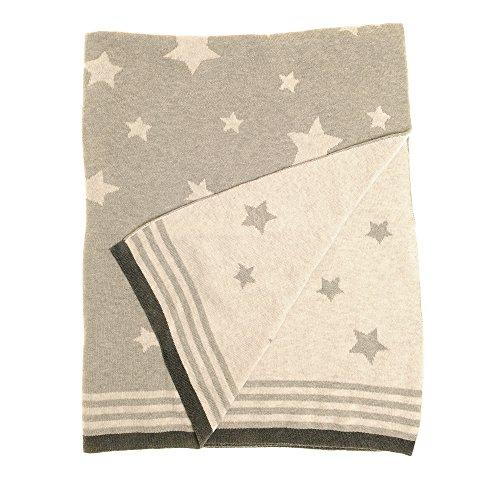 Ziggle baby omkeerbare deken in grijze sterren voor kinderdagverblijf en kinderwagen, 100% gekamd katoen gebreid, perfect cadeau