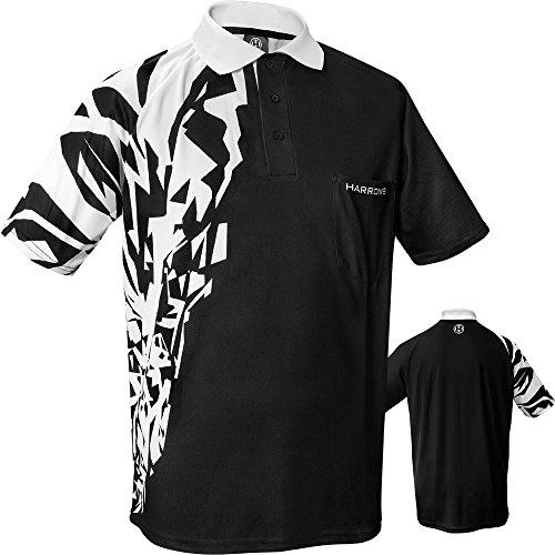 Harrows Rapide Dart-Shirt, atmungsaktiv, mit Tasche, erhältlich in S bis XXXXXL, Schwarz/Weiß, xl