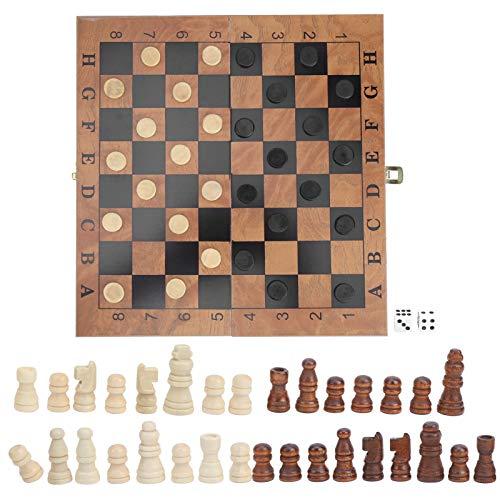 Surebuy Juego de ajedrez de Madera único, Tablero de ajedrez Damas Backgammon 3 en 1, Juego de Ajedrez para Adultos Único con Diseño Plegable para Todas Las Edades y Personas Unisex