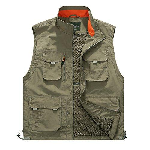 Guiran Herren Weste Outdoor Reporter Fotografie Weste Ärmellose Hemd Safari Weste Mit Vielen Taschen Für Jagd Angeln Camping Kaki XL