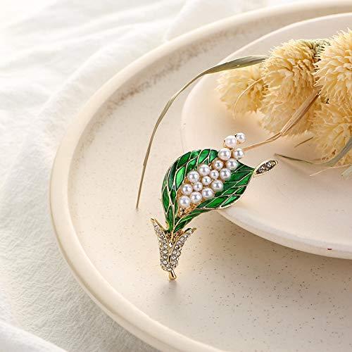 Enni ABC Koreaanse hoge kwaliteit groene schilderij olie ingelegd met boren Lelie Bloem Parel Tarwe Spike Broche Kleding Accessoires Pin Broche