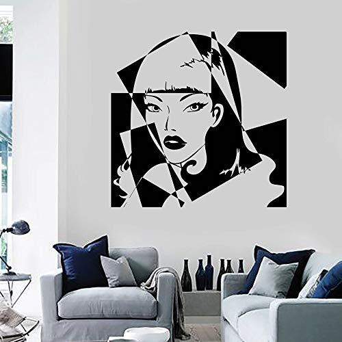 Tianpengyuanshuai Fototapete Mädchen Schönheitssalon schöne Frau Schlafzimmer Dekoration Vinyl Fenster Aufkleber Mode Wandbild 63x63cm