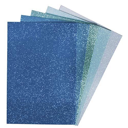 Rayher 75438999 Moosgummiplatten Glitter, selbstklebend, versch. Blau- und Grüntöne, 5 Stück, 20 x 30 x 0,2 cm
