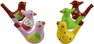 Terra Cotta Bird Water Whistles Warbler Song Ceramic Chirps Baby Bathtime Fantasy Gifts Set of 6 (Light Colours Bird Set of 6)