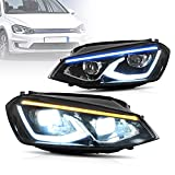 VLAND Start-up Blue LED Headlights Compatible For [2014-2019 VW Volkswagen Golf 7 MK7] With Welcome / Breathe Function Dynamic DRL, Driver & Passenger Side (Don't fit for GTI/GTD/ R /Golf 7.5)