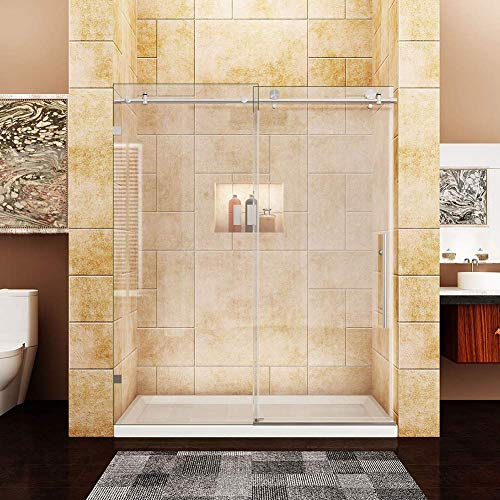SUNNY SHOWER Glass Shower Door Frameless Sliding Shower Glass Door, 3/8 inch Clear Glass Shower Panel, 60 in. W x 72 in. H Bathroom Sliding Door, Brushed Stainless Steel