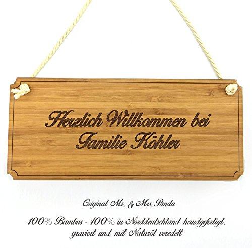Mr. & Mrs. Panda Türschild Nachname Köhler Classic Schild - 100% handgefertigt aus Bambus Holz - Anhänger, Geschenk, Nachname, Name, Initialien, Graviert, Gravur, Schlüsselbund, Handmade, exklusiv