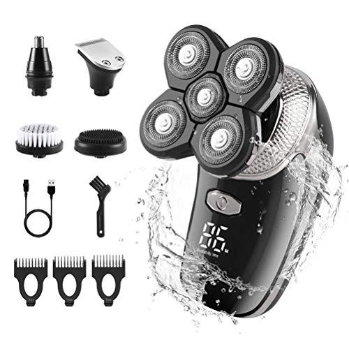 Elektrischer Rasierer Herren, USB Rotationsrasierer Wiederaufladbar wasserdicht Herrenpflegeset mit Gesichtsreinigungsbürste Elektrischer Rasierapparat mit kahlem Kopf für Bartnasenhaar