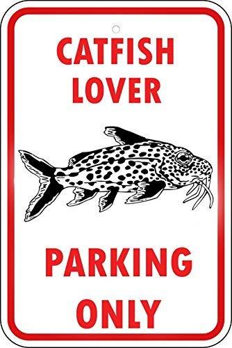 BridgetWhy50 Poisson Chat Poisson Pêche Parking Only Sign, Fantaisie Plaque en métal, Aluminium, Panneaux d'avertissement Hazard, Cour des Signes, des Signes de sécurité, 20,3 x 30,5 cm