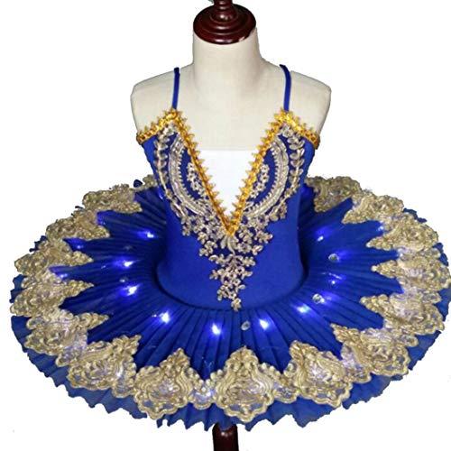 ZYLL Professionelle LED-Ballettröckchen für Kind-Kind-Ballerina-Kleid-Kind-Mädchen-Ballett-Kleid-Kostüm Schwanensee Partei,Blau,140CM