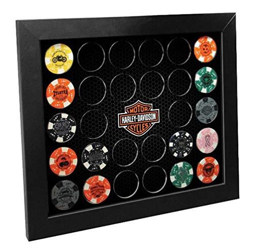 Harley-Davidson Poker Chip Collectors Frame, Holds 26 Chips, Made in USA 6925