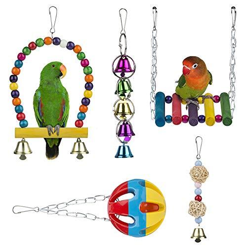 WolinTek Juguetes para Pájaros, 5 Piezas Colorful Columpio para Loros Accesorios Jaula Pajaros Bite Toy con Campanas para Cockatiels,Periquitos, cacatúas,Loro, Periquito 5Pcs