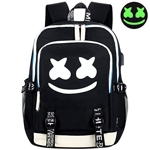 DJ Laptop Backpack, FYEKR Cute Luminous School Backpack Bookbag Hiking Casual Daypack (Black)