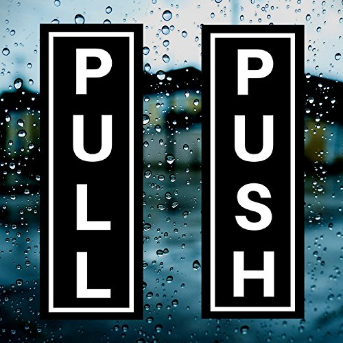 """PUSH (x2) & PULL (x2) Indoor/Outdoor Vertical Door 1.75"""" x 5"""" Sticker/Decal for Business, Shops, Stores, Cafes & More - Industrial Strength Self Adhesive Back Vinyl Sticker"""