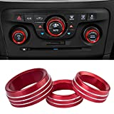 Air Conditioner Switch CD Button Knob Cover Auto Interior Accessories Aluminum Alloy Decal Trim Rings for 2015-2020 Dodge Challenger Charger Chrysler 300 300s (Red)