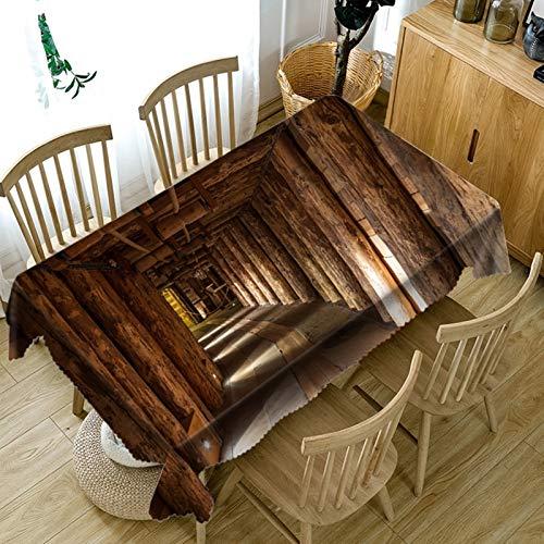 Rubyia Tovaglia quadrata con motivo corridoio in legno, poliestere, 85 x 85 cm, marrone