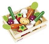 Janod–Jouet en Bois–Assortiment légumes dans boîte magasin marché 12pièces–16x 4,7x 12cm, multicolore