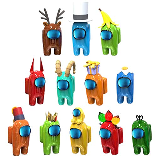 Among Us Figure Toy, Gioco Figure Bambole, 12PCS Cartoon Dolls Collection Collection Party Gift, Cartoon Dolls Decoration Christmas Birthday Collection Party Gift per i Fan del Gioco (Colore Casuale)