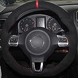 NASHDZ Cubierta del Volante del Coche de Gamuza Antideslizante DIY, Apta para Volkswagen Golf 6 GTI MK6 VW Polo GTI Scirocco R Passat CC R-Line 2010