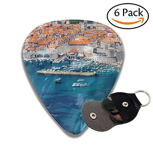 Beautiful Dubrovnik City In Croatia Seen From The Top In A Blue Sky Day Stylish Celluloid Guitar Picks Plectrums For Guitar Bass 6 Pack.96mm