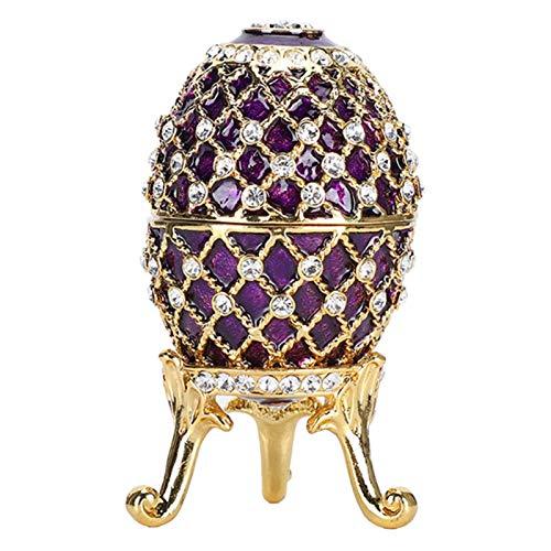 Joyero de Huevo de Pascua, Caja de baratija Pintada esmaltada con Soporte de Metal Dorado para Adornos de Mesa para el hogar