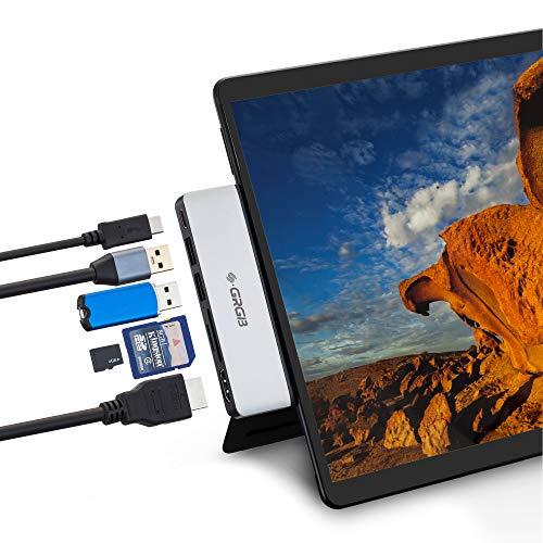 SSS - Docking station Surface Pro X, adattatore HDMI per hub USB C 4K con 2 porte USB 3.0, porta di trasferimento dati USB C, lettore di schede SD/TF per accessori Surface Pro X (argento)