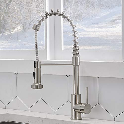 VCCUCINE Modern Commercial Spring Brushed Nickel Pull Out Sprayer Single Handle Kitchen Faucet, Single Lever Pull Down Kitchen Sink Faucets