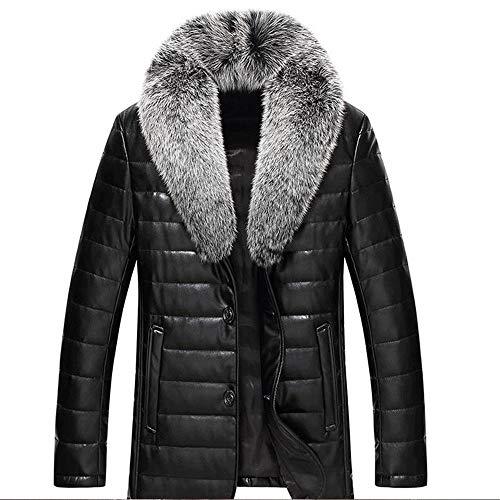 Hojkl Nieuwe Mens Winter Effen Kleur Bont Kraag Verdikking Mannen Down Jacket Slim Warm Anti-freeze Jas Tops Lederen Jas Down Jacket Warm Jas