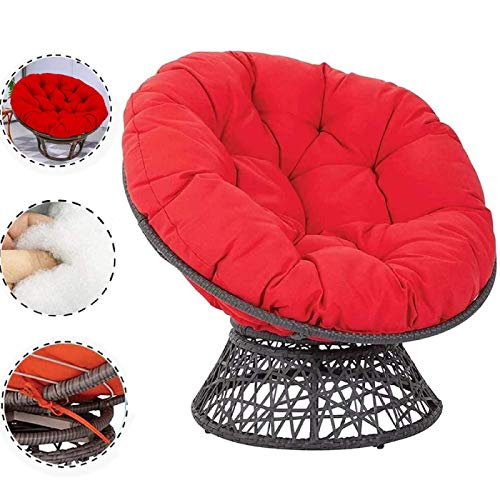 CDKET Patio Papasan Chair Cushion Swing Hanging Basket Seat Cushion Solid Thicken for Indoor Outdoor Round Hanging Egg Chair Pads Overstuffed-100100cm Red