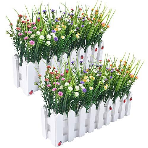 Flores artificiales Baby's Breath Gypsophila en Picket Fence Pot Pack para la decoración del...