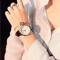 DXM Watch 女性のためのCZWシンプルな防水大型ダイヤルウォッチ(ブラックホワイト) (Color : Brown white)