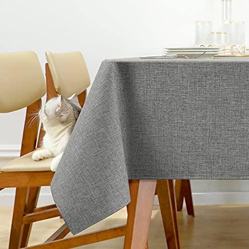 Joywell Tischwäsche Tischdecken für Gartentische Wasserabweisend Tischtuch Table Cloth Waterproof Leinen Optik Tischdecken Esszimmer Küche 130x160 cm Hellgrau