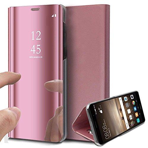 Surakey Kompatibel mit Samsung Galaxy A21S Hülle Spiegel Handyhülle Flip Schutzhülle,Überzug Clear View PU Leder Tasche Brieftasche Handytasche Flip Case Wallet Tasche Etui Lederhülle,Rose Gold