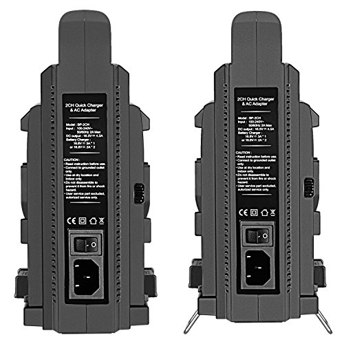 Neewer NW-BP-2CH 2-Channel V-Mount Dual Battery Charger for Sony BP95W/BP150WS/BP190WS/BP150W/BP190W Battery and Other Camera Camcorder Using V Lock Battery Pack