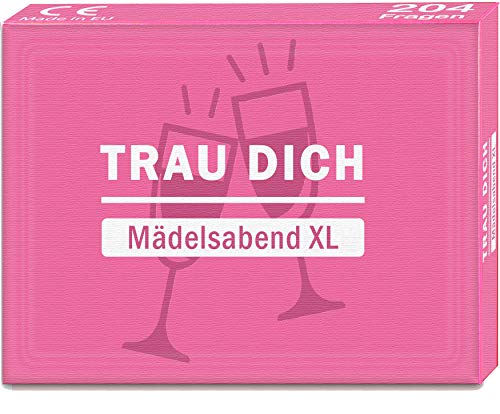 Kulinu TRAU Dich - Mädelsabend XL - Eines der besten Geschenke für Frauen - Lustiges Spiel mit verrückten und interessanten Fragen für Deine Freundinnen - Geschenkideen Geschenk Gesellschaftsspiel