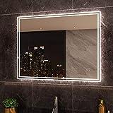 SIRHONA 90x70cm Miroir de Salle de Bains avec éclairage LED Miroir Cosmétiques Mural Lumière Illumination avec Commande par Effleurement/Anti-buée