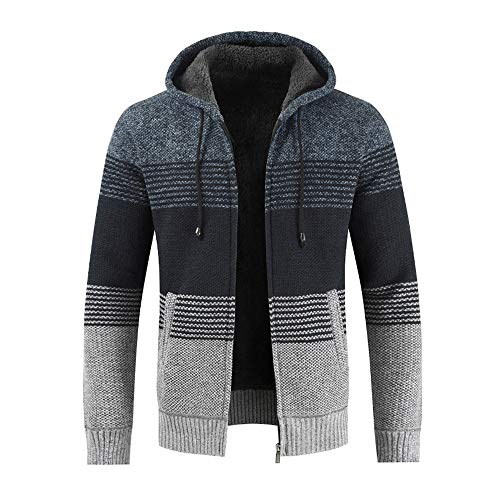 Zarupeng Mannen capuchon gebreide jas Cardigan gestreept Slim Fit hoodie met ritssluiting lange mouwen pullover mantel tops