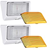 Leisure LED RV Exterior Porch Utility Light with Switch - 12v 280 Lumen Lighting Fixture. Replacement Lighting for RVs, Trailers, Campers, 5th Wheels. White Base, Clear and Amber Lens (White, 2-Pack)