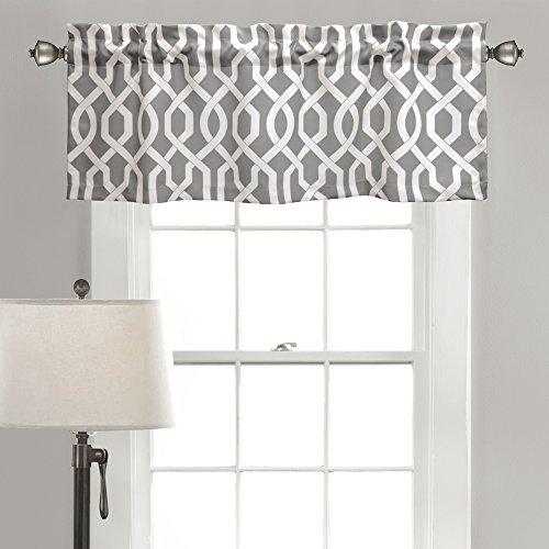 "Lush Decor Edward Trellis Valance Patterned Window Curtain, 18"" x 52"", Gray"